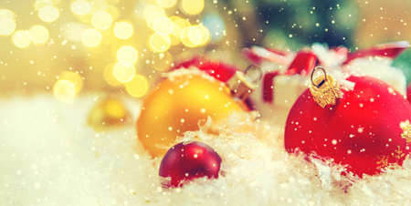 Merry Christmas and Happy New Year, Holidays greeting card background. Selective focus. Archivio Fotografico