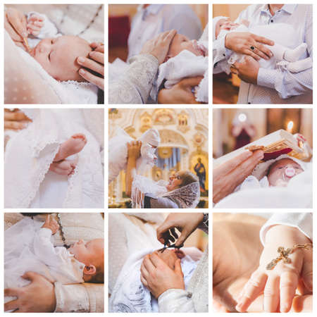 Collage of the sacrament of the baptism of a baby. Selective focus. People.
