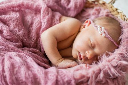 Newborn baby beautiful baby girl. Selective focus. people.