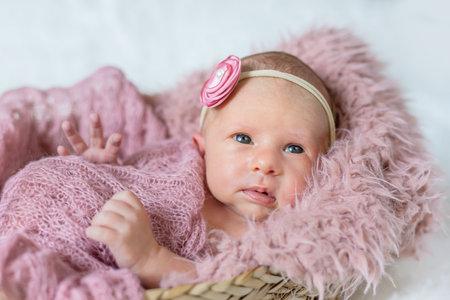 Newborn toddler girl on a pink background. Selective focus. people. Standard-Bild
