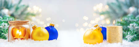 Beautiful christmas background with decor. Selective focus. Holiday. Фото со стока