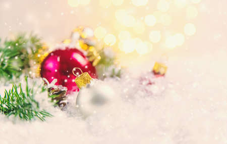 Christmas background and beautiful decor. New Year. Selective focus. Holiday.