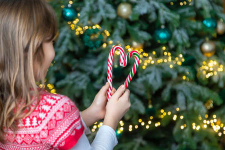 Christmas candy canes in the hands of a child. Selective focus. Holiday. Standard-Bild