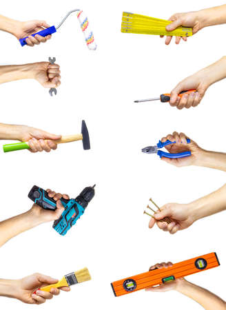 Collage of repair tools on a white background. Selective focus. People.