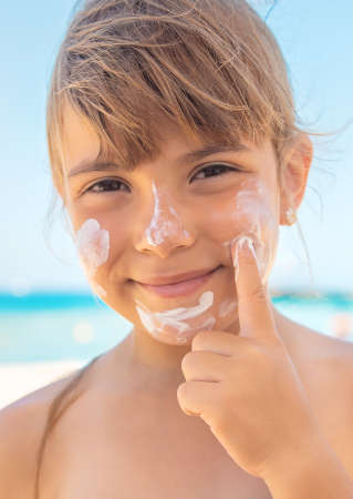 Sunscreen on the skin of a child.