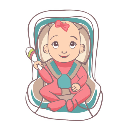 sits: The child sits in a car seat