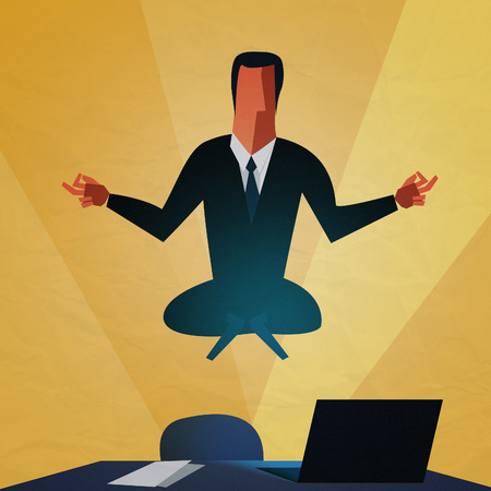 Zen businessman doing yoga meditation on the desk. Success illustration. Goal achievement. Business concept. Winning of competition or triumph design. The euphoria of success.