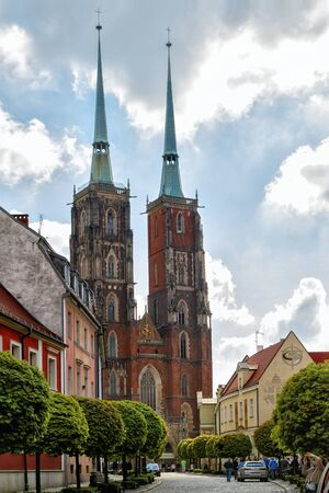 Wroclaw, Poland - Front side view to the St. John the Baptist cathedral in spring