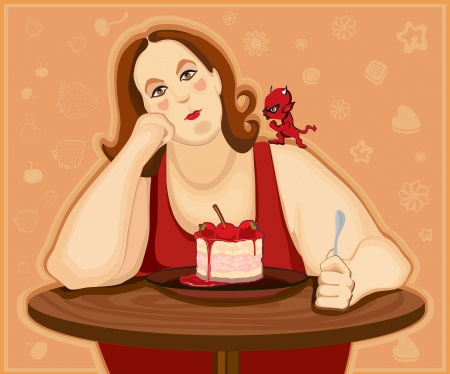 gluttonous: Plump woman wants to eat tasty cake