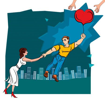 Man throws woman  Broken love  Illustrations  Иллюстрация