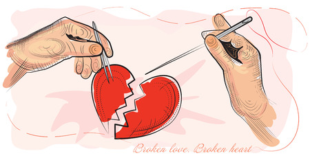 kaput: Broken love  Broken heart  Vector illustration  Illustration