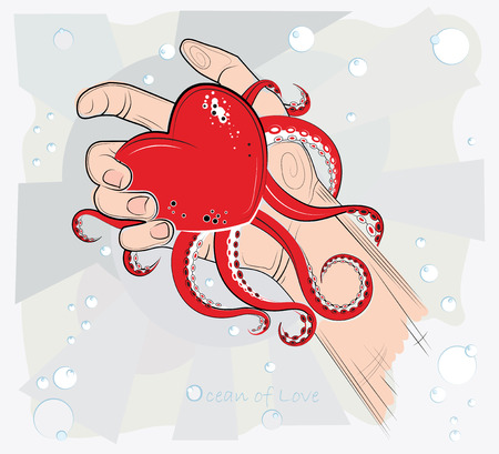 tender sentiment: Heart in the hand  Vector illustration  In his hand lies the heart in the form of an octopus