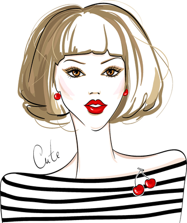 juvenile: Fashion vector girl. Cute and young model with red lips.