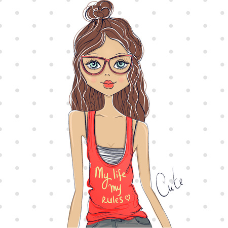 young girl: Cute girl. Romantic girl. Sketch girl. Beauty teen. Beauty model. Young girl. Fashion girl. Girl with glasses. Pretty girl. Fashion illustration. Cartoon illustration. Happy girl. Vector girl. Illustration