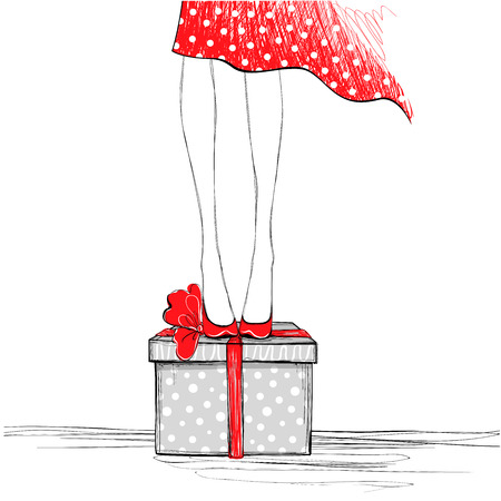 Girl With Gift Box Happy Birthday Card Sketch Vector Illustration