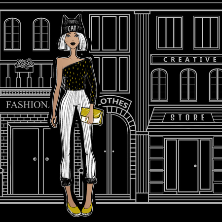 Fashion girl on the streets of Paris, walking to the shops. The girl from New York City goes shopping. Beautiful model. Cartoon illustration. Sketch girl. Black and white. Illustration