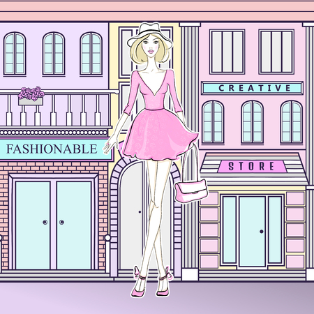 Fashion girl on the street. Cute girl in pink dress. Young model walking to the shops. Fashionable woman. Girl goes shopping.