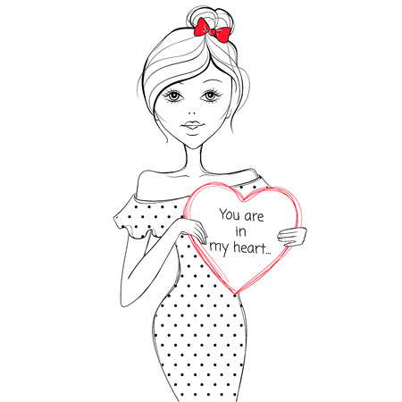 post teen: Beautiful girl with a heart. Cute girl. Romantic girl. Vector fashionable girl. Sketch illustration. Illustration