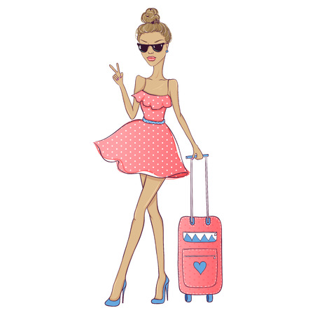 cool girl: Cute girl go to travel. Fashion girl go to trip. Girl with a suitcase. Summer voyage. Pretty woman sketch illustration. Cool girl. Young teen.