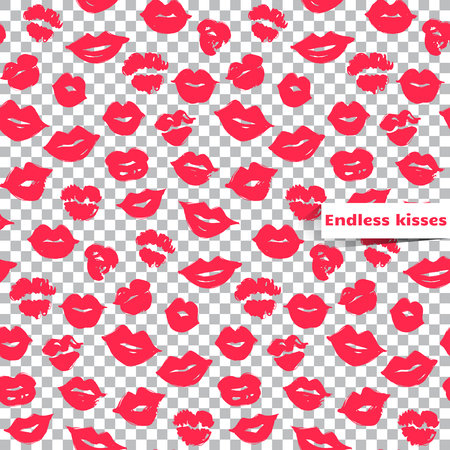 buss: Pink lips seamless pattern on a transparent background.Vector female lips.Colorful illustration,Creative backdrop.Fashion stylish wallpaper.Trendy and glamour design in vogue style.Bright repeat print