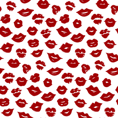 Vector beauty seamless pattern of red lips. Sexy lip make-up. Sweet kiss.Candy smile wallpaper. Colorful illustration, creative background. Fashion stylish wallpaper. Trendy design.