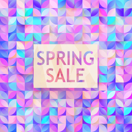 Vector spring sale poster. Cute discount card. Seasonal discount banner design. Sell-out, clearance, closeout. Advertising template. Colorful promo illustration.