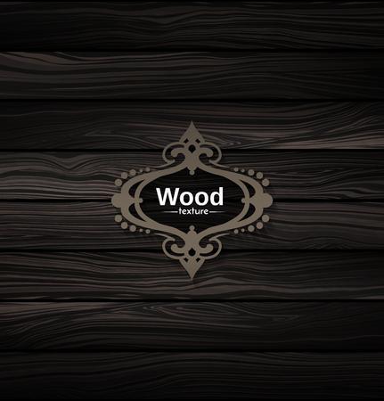 ベクトル ウッド テクスチャ。自然な暗い木製の背景。寄木細工壁紙。ボードウォークの図。木の樹皮のパターン。古いパネル。ビンテージ板。木材