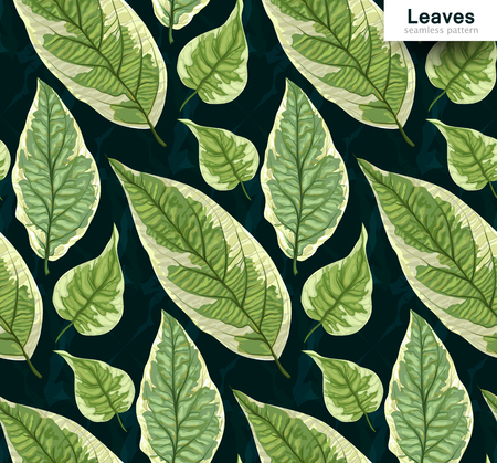 Vector seamless background with leaves. Realistic pattern with green foliage. Botanic texture. Great nature design. Leaf fall. Decorative elegant illustration. Decorative illustration with branches.