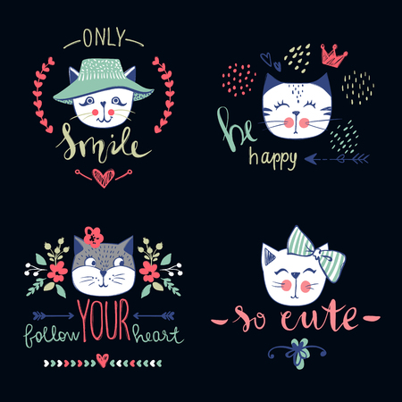A Vector card series with cute fashion cats. Stylish kitten set. Trendy illustration in sketch style t-shirt print, cards, poster. Doodle Kitty. Kids animals. Funny character. Ilustração