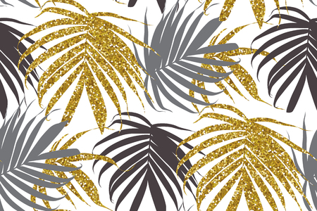 Vector gold glitter palm leaf. Tropical leaves seamless pattern.