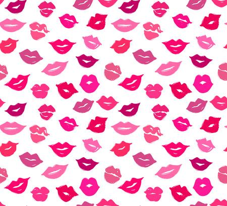 buss: Vector lips seamless pattern.  Vector female lips. Trace of lips Illustration