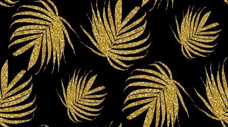 Vector gold glitter palm leaf on a dark background. Tropical lea