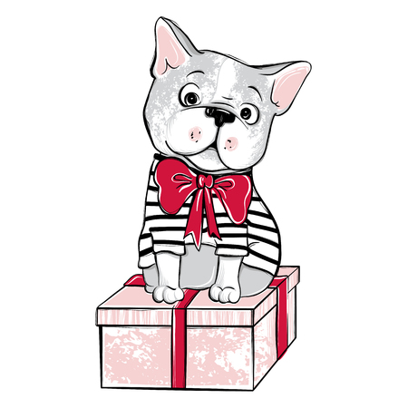 Merry Christmas illustration with funny dog. Hand drawn vector f