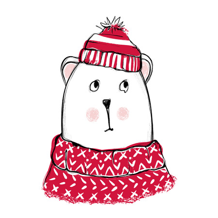Cute bear. Hand drawn vector teddy with red sweater, scarf and h Illustration