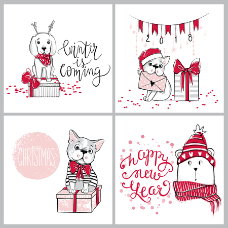 Merry Christmas 2018 collection with cute greeting cards. Funny
