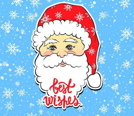 Vector Illustration of cartoon Santa Claus with best wishes lett Illustration