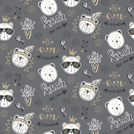 Vector fashion bear seamless pattern. Cute teddy illustration in Illustration