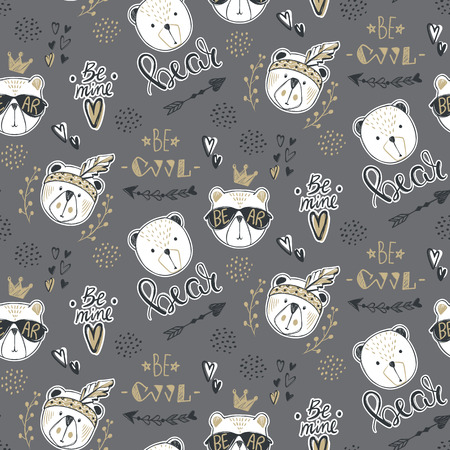Vector fashion bear seamless pattern. Cute teddy illustration in Illusztráció