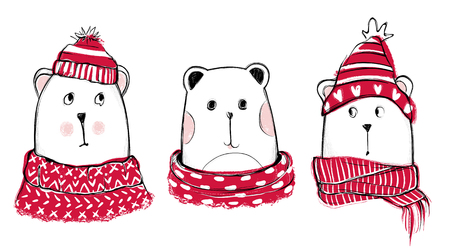 Christmas illustration with funny bears. Hand drawn vector teddy with red sweater, scarf and hat. Happy New Year collection. Win