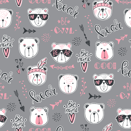 Vector fashion bear seamless pattern. Cute teddy illustration in