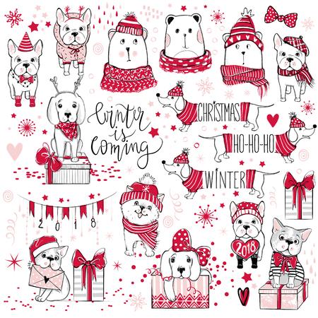 Una gran colección de Navidad con lindos perros, osos, regalos, snowfl