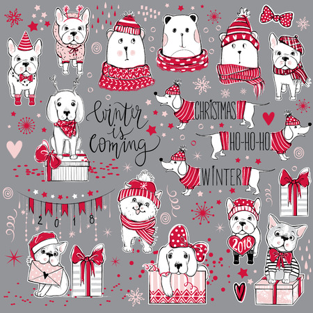 Vector Merry Christmas collection with cute holiday symbols. Fun