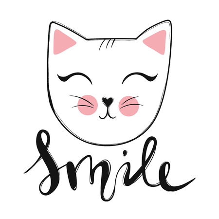 Card vector with cute fashion cat, stylish kitten. Doodle kitty, kids animals print funny character cute illustration, trendy design.