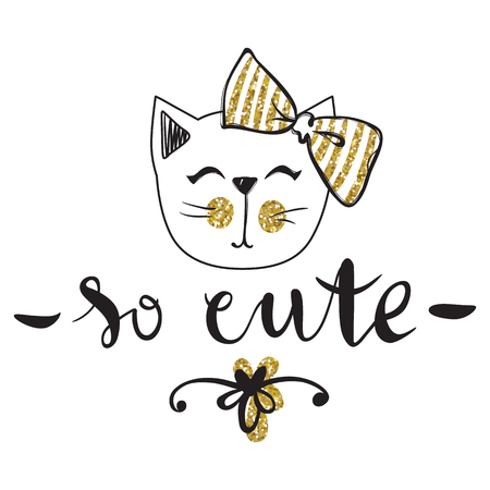 Vector card with cute fashion cat