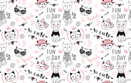 Vector fashion cat seamless pattern. Cute kitten illustration in sketch style. Cartoon animals background. Doodle kitty. Ideal for fabric, wallpaper, wrapping paper, textile, bedding, t-shirt print.