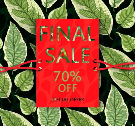 Vector sale flyer with leaves. Botanical nature design. Illustration