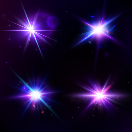 Vector set with glow light effect. Star burst with sparkles. Lens Flare collection. Abstract Space concept template isolated. Flash Highlight beam. Glare, shiny, flicker and luminescence.