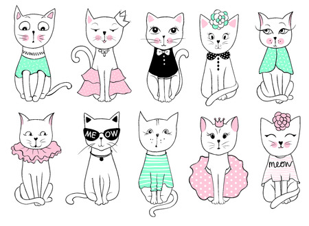 Big Vector series with cute fashion cats. Stylish kitten set. Trendy illustration in sketch style  t-shirt print, cards, poster. Doodle Kitty. Kids animals. Funny character. Illusztráció