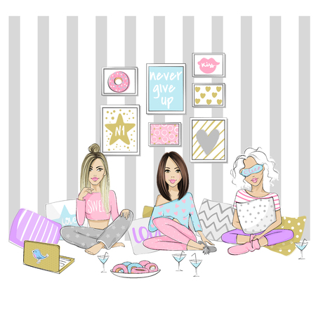 Beautiful girlfriends on a pajama party. Set with cute girls. Vector young ladies. Fashionable teens. Stylish chick of home interior. Trendy fashion illustration in sketch style.  Illustration