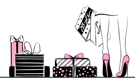 Vector girl in high heels surrounded by shopping bags, gift boxes. Illustration